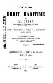 Cours de droit maritime: Volume2