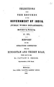 SELECTIONS FRON THE RECORDS OF THE GOVERNMENT OF INDIA   PUBLIC WORKS DEPARTMENT  PDF