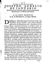 Epistola ad Virum clarissimum Josephum Aurelium de Ianuario in Neapolitano Athenaeo Iuris feudalis Professorem Senatoremque ac consiliarium regium: Brixiae 8 May 1754