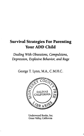 Survival Strategies for Parenting Your ADD Child PDF