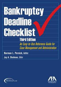 Bankruptcy Deadline Checklist Book