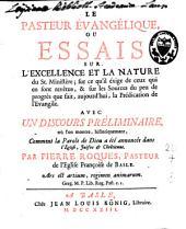 Le pasteur évangélique ou essais sur l'excellence et la nature du St. Ministère ...