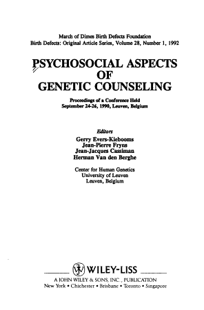 Psychosocial Aspects of Genetic Counseling PDF