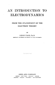 An Introduction to Electrodynamics from the Standpoint of the Electron Theory PDF
