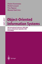 Object-Oriented Information Systems: 9th International Conference, OOIS 2003, Geneva, Switzerland, September 2-5, 2003, Proceedings
