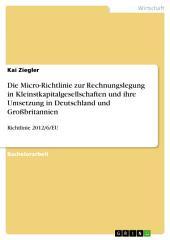 Die Micro-Richtlinie zur Rechnungslegung in Kleinstkapitalgesellschaften und ihre Umsetzung in Deutschland und Großbritannien: Richtlinie 2012/6/EU
