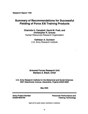 Summary of Recommendations for Successful Fielding of Force XXI Training Products PDF