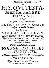 Assertiones Iuridicae De His, Qui Testamenta Facere Possunt