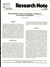 Merchantable volume and weights of Mahoe in Puerto Rican plantations