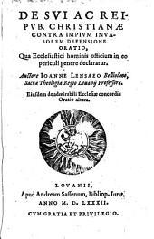 De sui ac reipublicae christianae contra impium invasorem defensione oratio