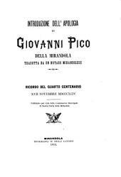 Introduzione dell'Apologia di Giovanni Pico della Mirandola tradotta da un notaro mirandolese: ricordo del quarto centenario 17 novembre 1894
