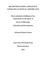 Reconceptualising Adolescent Literacies As Textual Assemblages