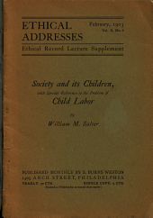 Society and Its Children, with Special Reference to the Problem of Child Labor