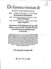 De summa trinitate et fide catholica