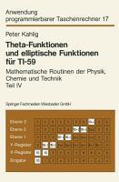 Theta Funktionen und elliptische Funktionen f  r TI 59 PDF