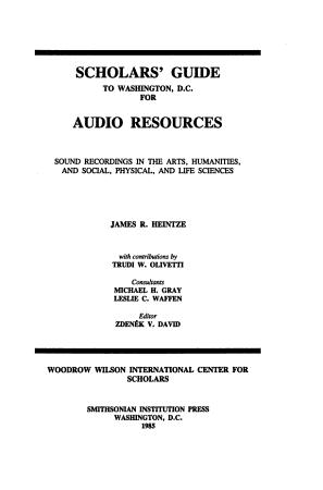 Scholars  Guide to Washington  D C   for Audio Resources PDF