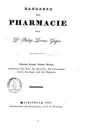 Handbuch der Pharmacie zum Gebrauche bei Vorlesungen und zum Selbstunterrichte für Ärzte, Apotheker'und Droguisten