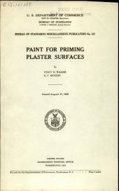 Paint for Priming Plaster Surfaces: Volume 13