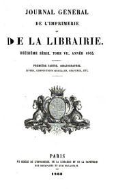 Journal général de l'imprimerie et de la librairie: Volume7,Numéro1