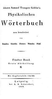 Physikalisches wörterbuch: Band 5,Teil 1