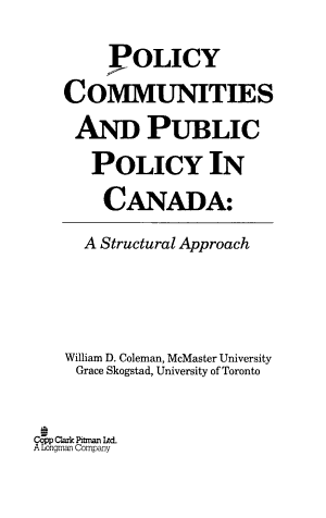 Policy Communities and Public Policy in Canada