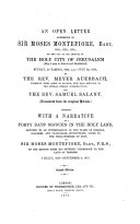 An Open Letter Addressed to Sir Moses Montefiore, Baronet ...