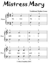 Mistress Mary - Easiest Piano Sheet Music