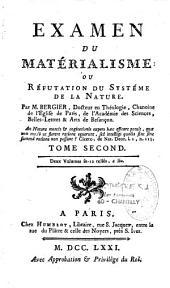 Examen du matérialisme ou Réfutation du système de la nature