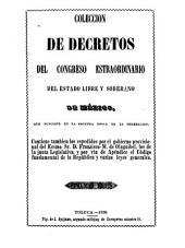 Colección de decretos y ordines del congreso del estado libre y soberano de México: Volumen 3