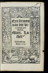 Eyn Sermon von der bereyttung zum sterben