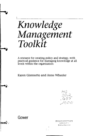 Knowledge Management Toolkit PDF