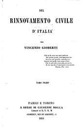 Del rinnovamento civile d'Italia: Volume 1
