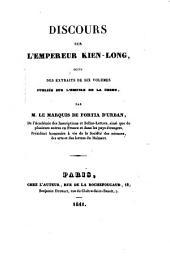 Discours sur l'empereur Kien-Long