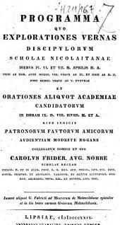 Programma quo explorationes vernas discipulorum scholae Nicolaitanae... et Orationes aliquot academiae candidatorum... Carolus Frider. Aug. Nobbe,...