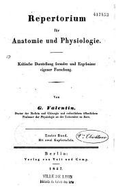 Repertorium für Anatomie und Physiologie
