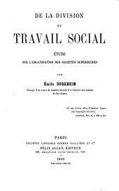 De la division du travail social: étude sur l'organisation des sociétés supérieures