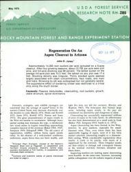 Regeneration On An Aspen Clearcut In Arizona Book PDF