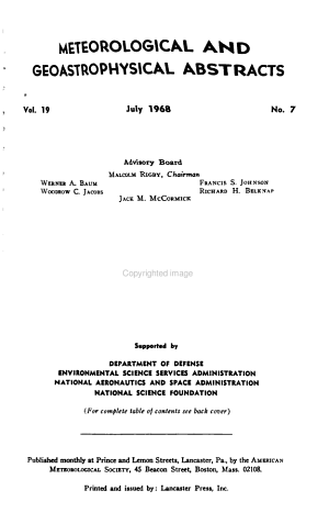Meteorological and Geoastrophysical Abstracts