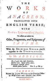 The Works of Anacreon Trans: English. Verse ...