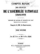 Compte rendu des séances de l'Assemblée nationale: Volume9