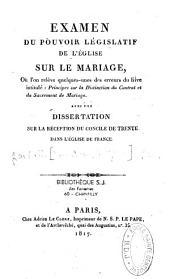 Examen du pouvoir pégislatif de l'église sur le mariage