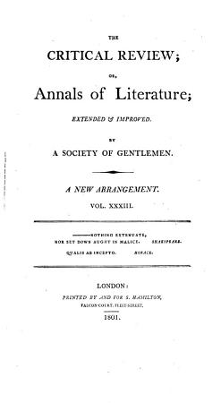 The Critical Review  Or  Annals of Literature PDF