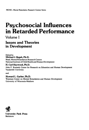 Psychosocial Influences in Retarded Performance  Issues and theories in development