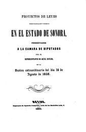 Proyectos de leyes sobre colonización y comercio en el Estado de Sonora, presentados a la Cámara de Diputados