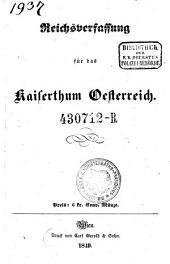Reichsverfassung für das Kaiserthum Österreich