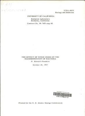 The Effect of Nitric Oxide on the Radiosensitivity of Bacteria PDF