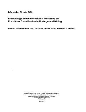 Proceedings of the International Workshop on Rock Mass Classification in Underground Mining
