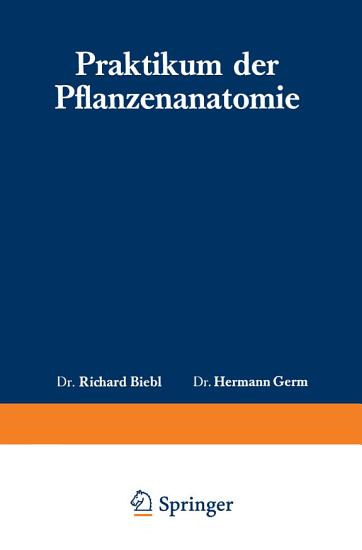Praktikum der Pflanzenanatomie PDF