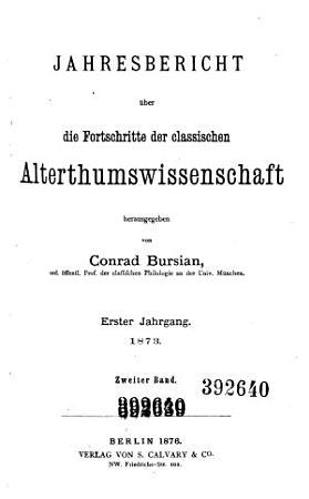 Jahresbericht   ber die Fortschritte der klassischen Altertumswissenschaft PDF