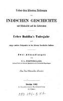 ber den   ltesten Zeitraum der indischen Geschichte mit R  cksicht auf die Litteratur PDF